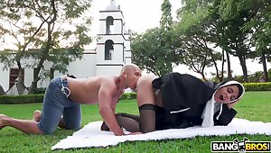 Nun sucks dick and gets laid in an obstacle stoolie