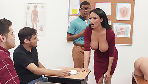Sumptuous professor screw college girl with BIG Clouded COCK in someone's skin class