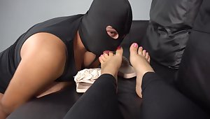 Slave clean cum of feet 4K