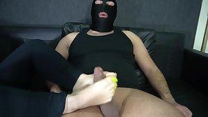 slave lick foot and footjob whit long toenails 4K