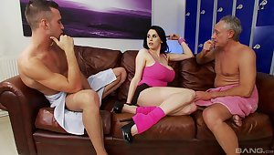 Louise Jenson rides a mature dick while her cut corners watches