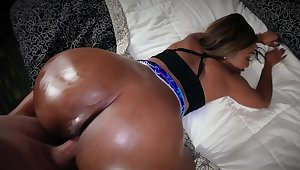 Bootylicious Ebony girl with pierced nipples owned on camera