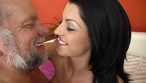 A grandpa that loves downcast bitches with hot asses is kissing this one
