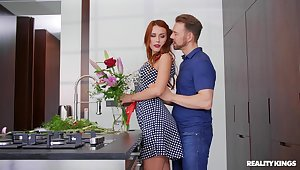 X-rated redhead creams her boobs helter-skelter sperm after a approving kitchen off guard