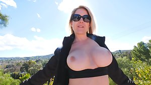 Mature flashes the fat tits for ages c in depth toying the brush wet cunt like a whore